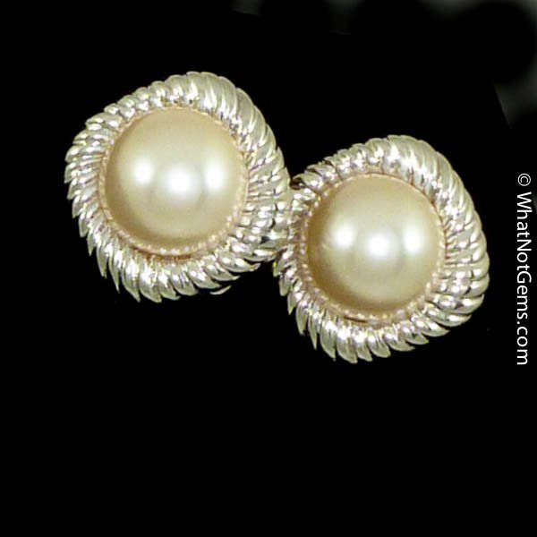 Majorica's Mikimi 15mm Mabé Pearl Silver Rope Clip Earrings