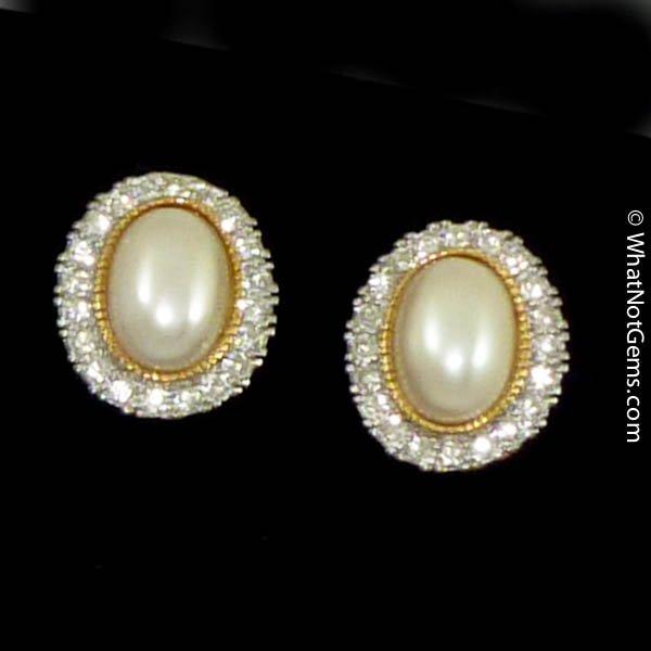 Majorica's Mikimi Pearl & Austrian Crystal Oval ClipEarrings