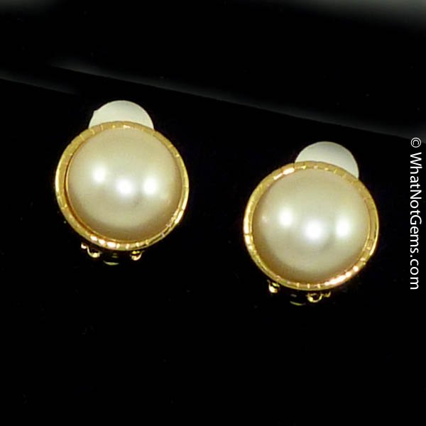Majorica's Mikimi 16mm Mabé Pearl Gold Fluted Clip Earrings