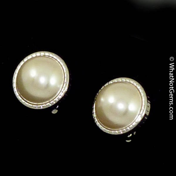 Majorica's Mikimi 16mm Mabé Pearl Silver Fluted Clip Earrings