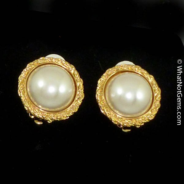 Majorica's Mikimi 14mm Mabé Pearl Gold Intricate Clip Earrings