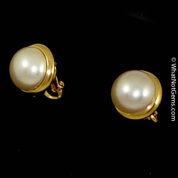 Majorica's Mikimi 12mm Mabé Pearl Gold Clip Earrings