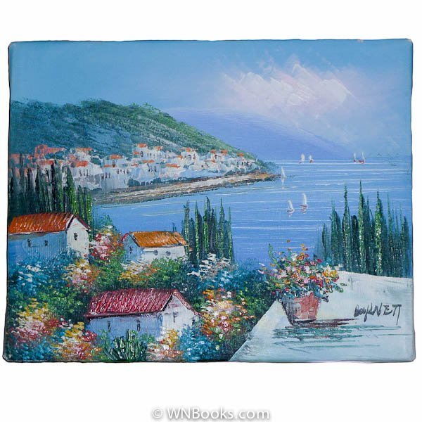 Colorful Mediterranean Seaside Town Painting with Many Cypress