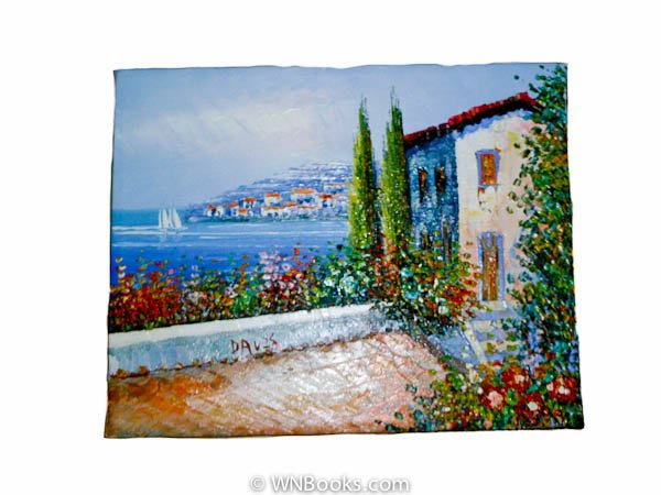 Colorful Mediterranean Seaside Painting with Cypress