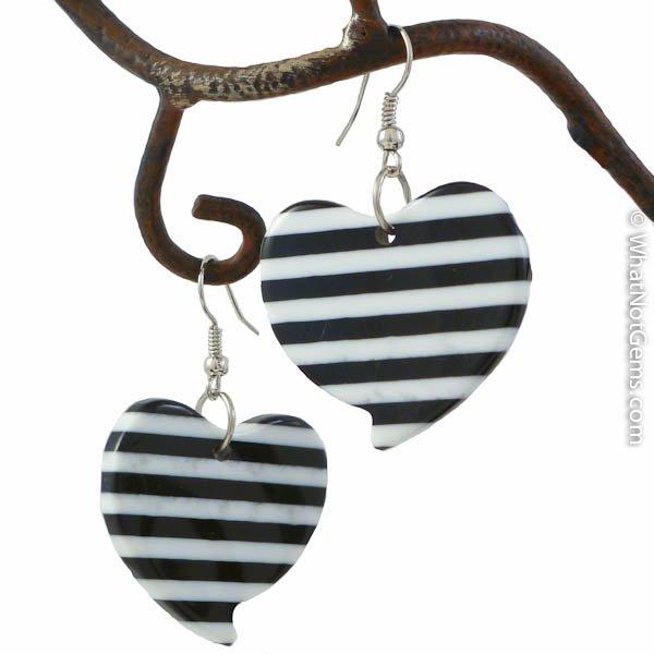 Prison Stripe Black and White Heart Dangle Earrings