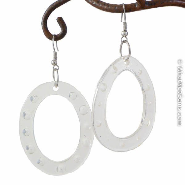 Champagne Clear Dimpled Or Dotted Oval Ring Earrings