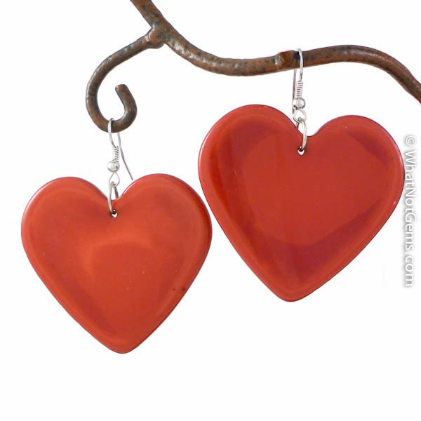 Large Red Heart Earrings