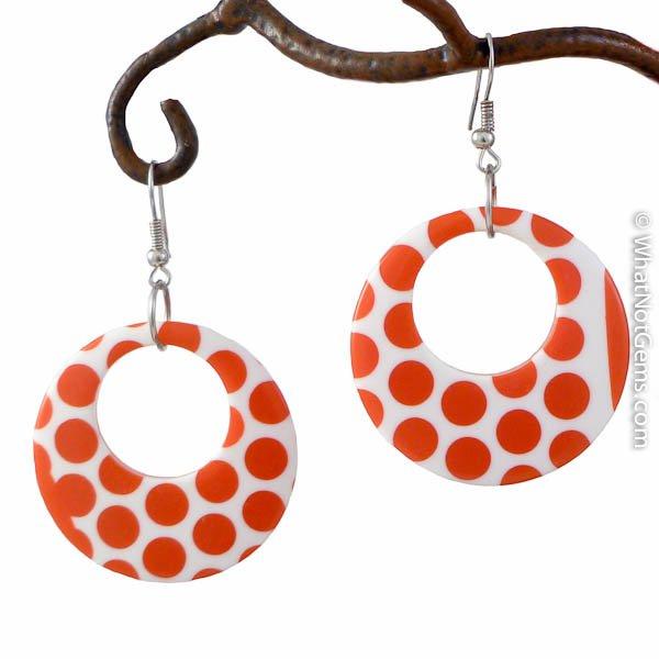 Red & White Polka Dot Hoop Earring