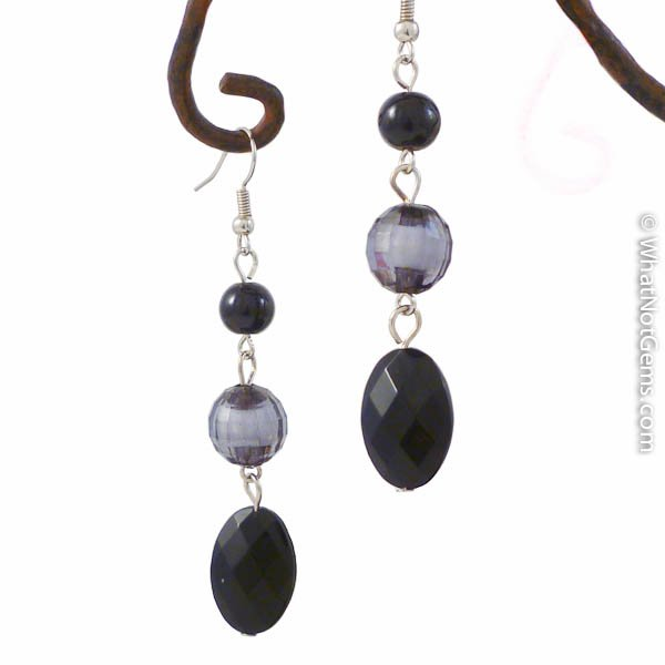 Sexy In Black Crystal Dangle Earrings