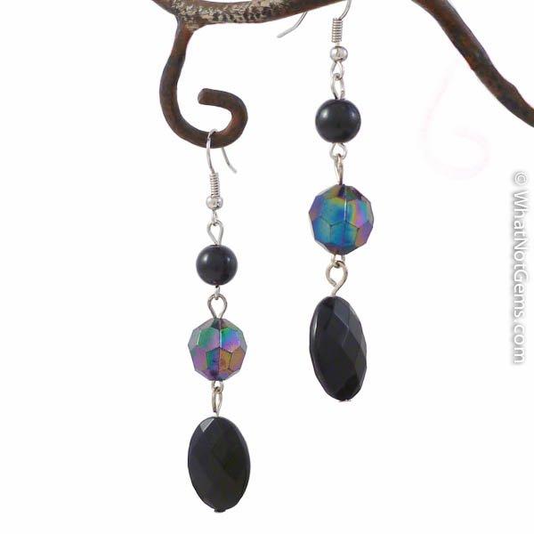 Shimmery Black Pearl and Crystal Dangle Earrings