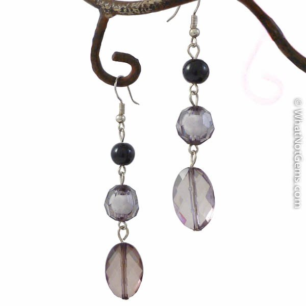 Smoky Nights Faux Pearl and Crystal Dangle Earrings