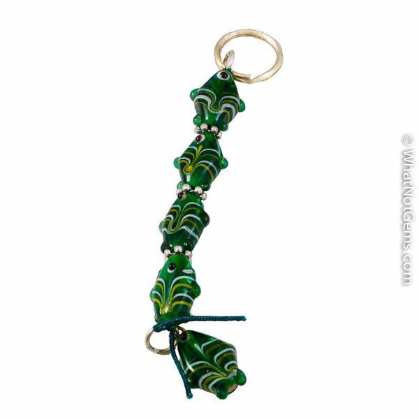Green Fish Murano Style Key Chain