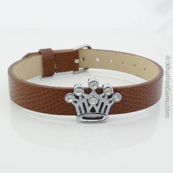 Crown Rhinestone Slide Charm Brown Belt Buckle Style Bracelet