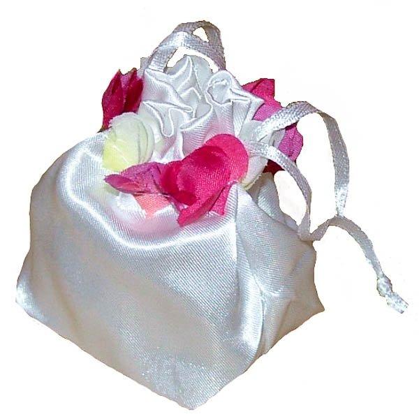 Flower Petal Topped Satin Bag - White