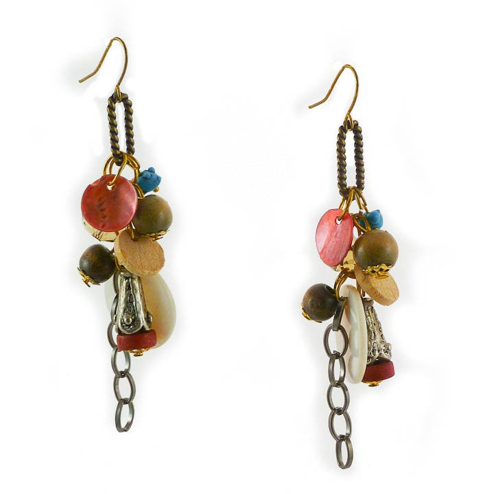 Copper, Green, Turquoise, wood bead Earrings