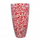 Lenox Floral Scroll Red Crystal Vase