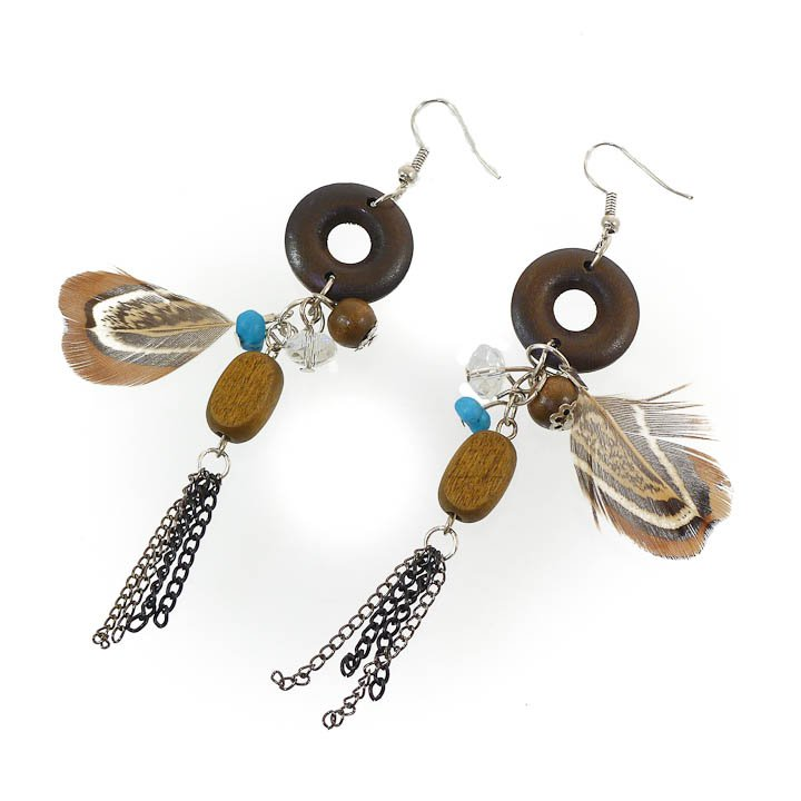 Pheasant Feather, Wood and Turquoise Earrings