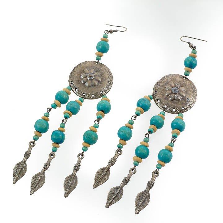 Shield & Arrow Turquoise Blue Earrings, 6 inch