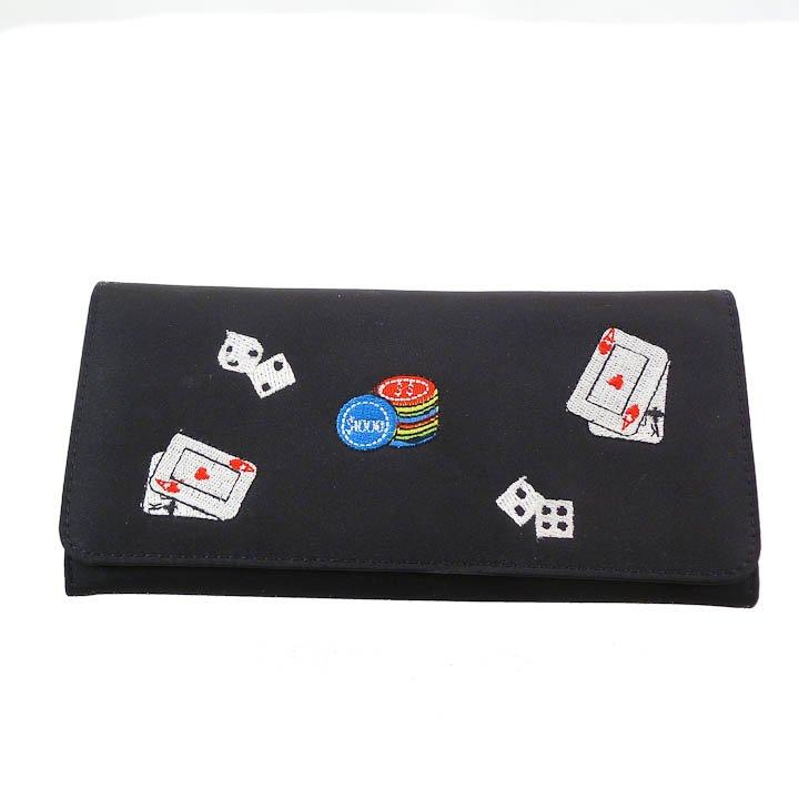 Embroidered Black Tri-fold Wallet - Poker