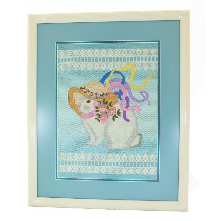 Framed Mrs. Rabbit Needlepoint Under Glass