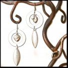 Silver Heart, Crystal Rhinestone, Circles, Feather Dangle Fashion Earrings