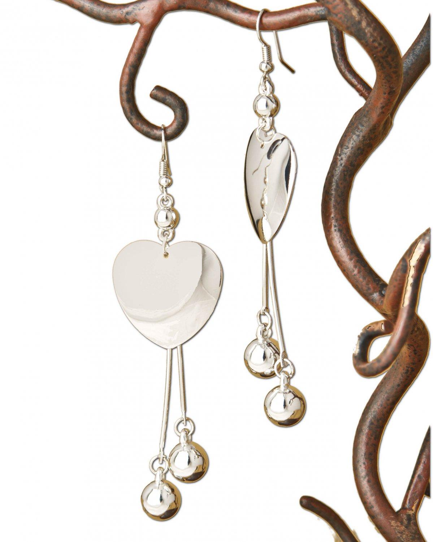 Long Polished Silver Heart & Ball Dangle Earrings