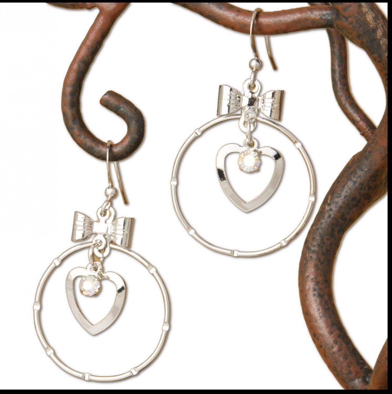 Silver Bow Heart & Hoop Dangle Earrings