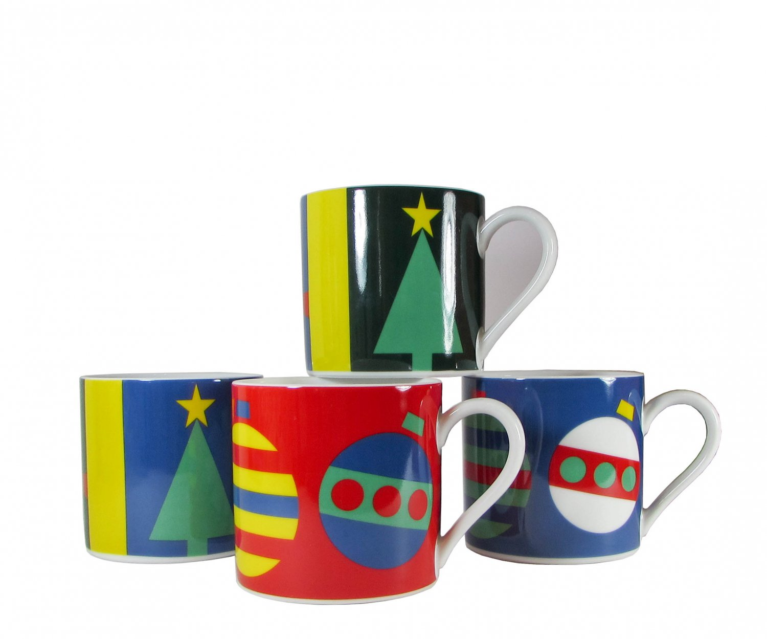 Set Of 4 Porcelain Mugs Holiday Gene Meyer by Museum Of Modern Art, MOMA