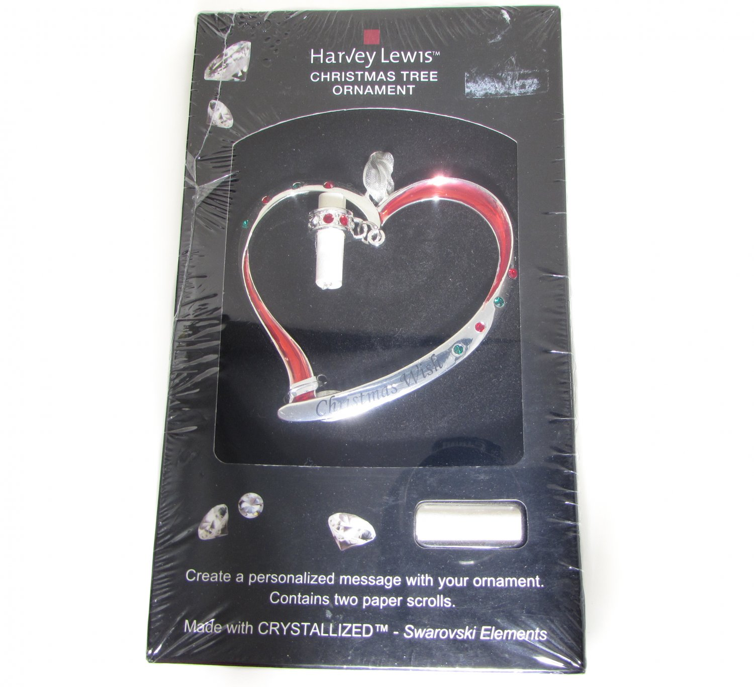 Harvey Lewis Wish Ornament Silver Heart and Crystal Ornament