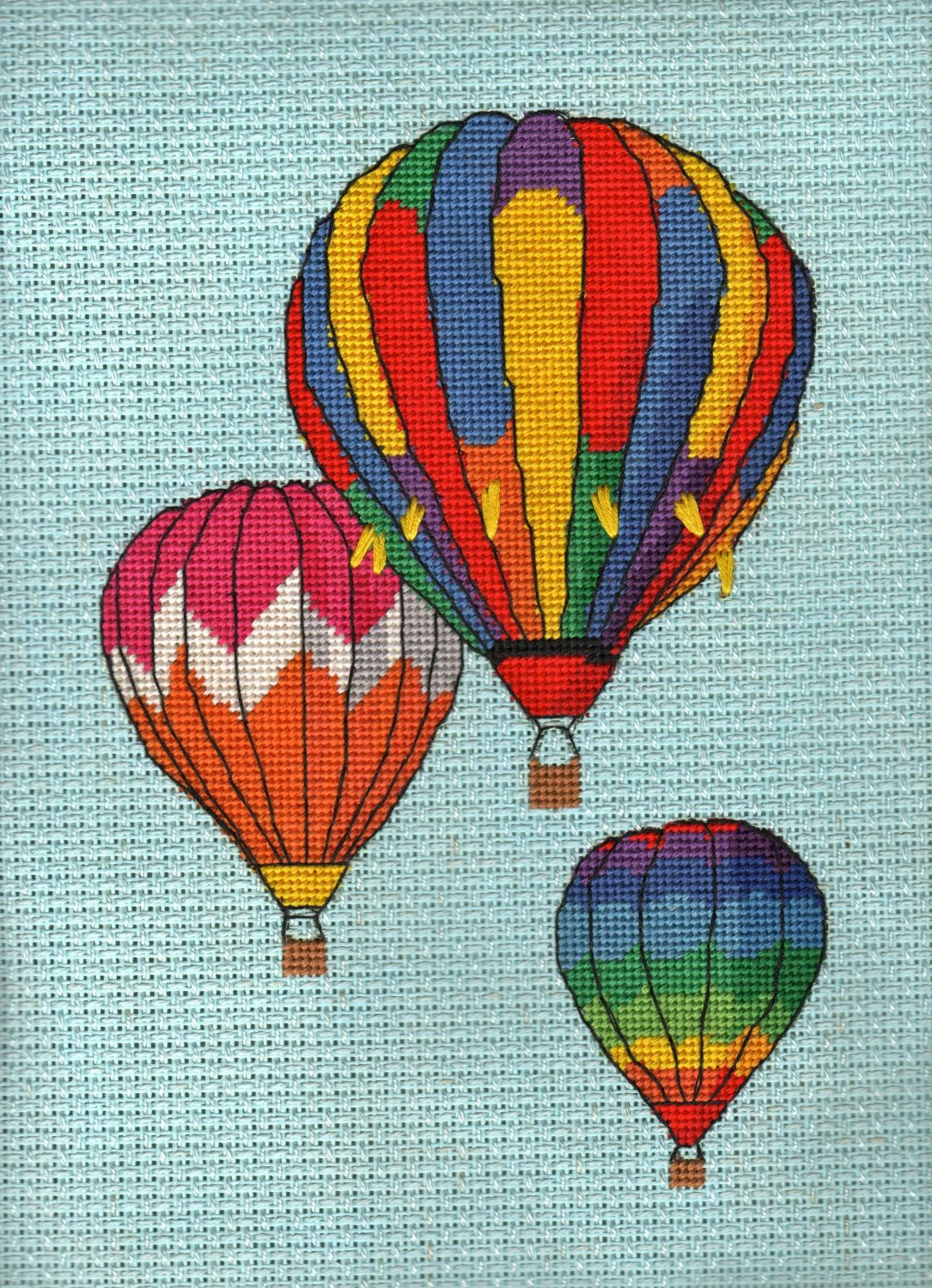 Trio of Balloons in Flight Completed Needlepoint
