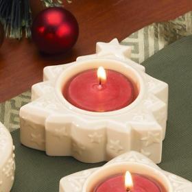 Lenox Yuletide Glowlites Ivory Christmas Tree, Red Tea Light Candle