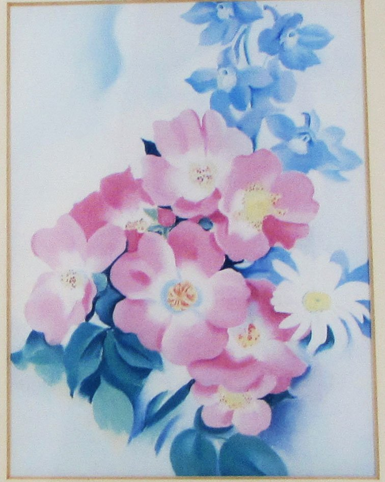 Pink Roses and Larkspur by Georgia O'Keeffe, 1887-1986 (USA)