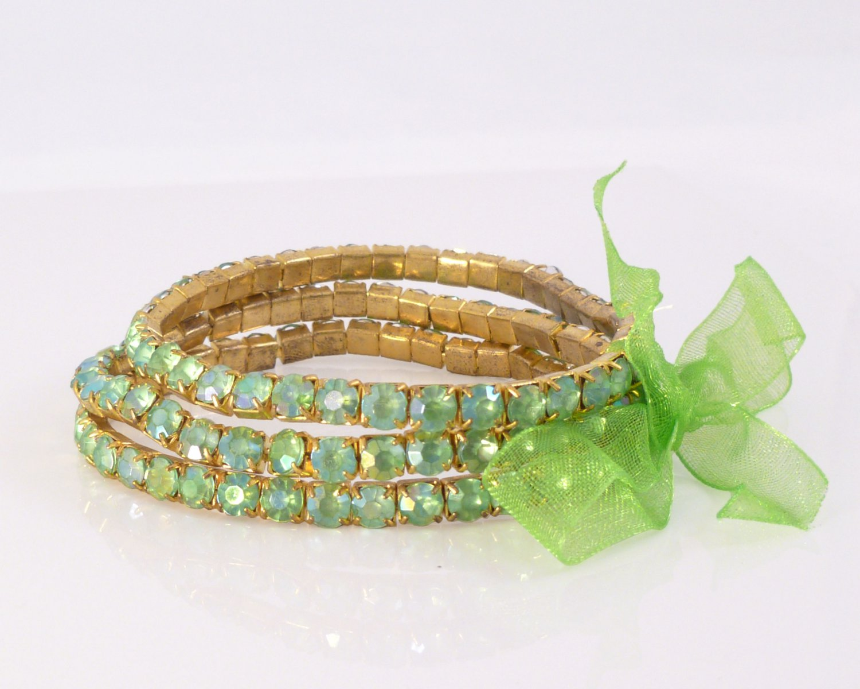 Peridot Crystal Stretch Yellow Gold Plated Rhinestone Bracelets