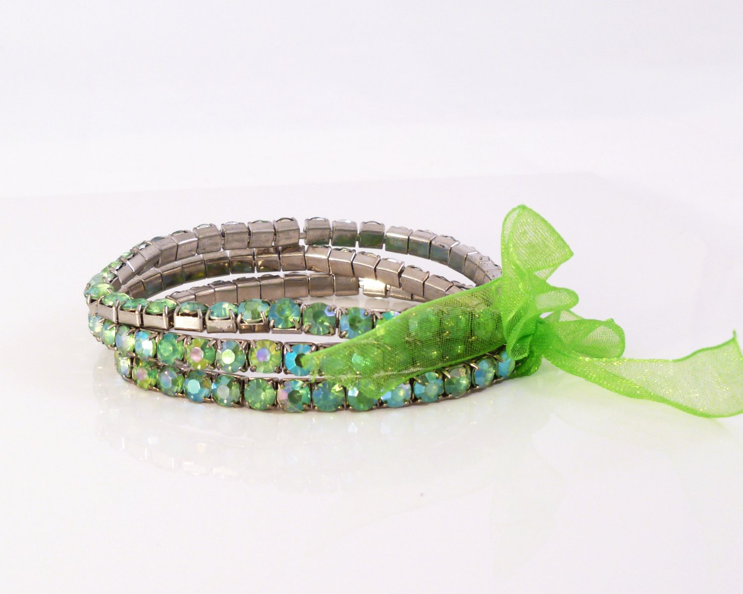 Peridot Crystal Stretch White Gold Plated Rhinestone Bracelets