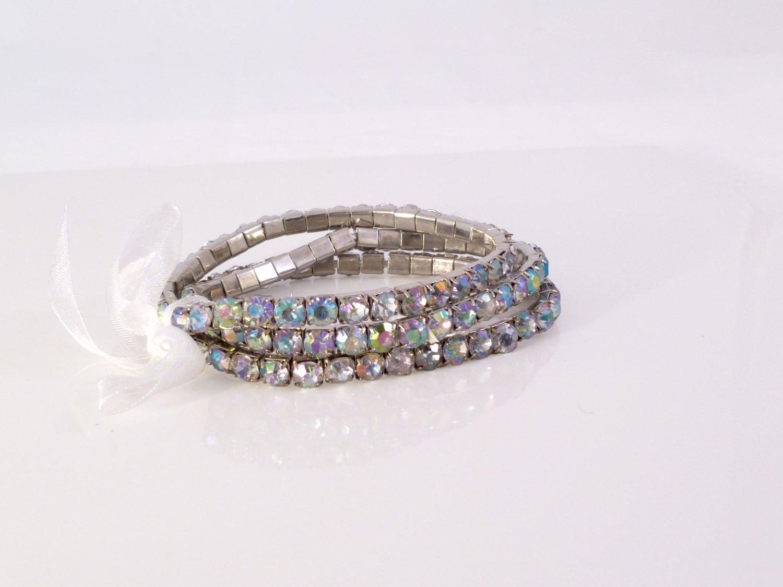 White Crystal Stretch White Gold Plated Rhinestone Bracelets