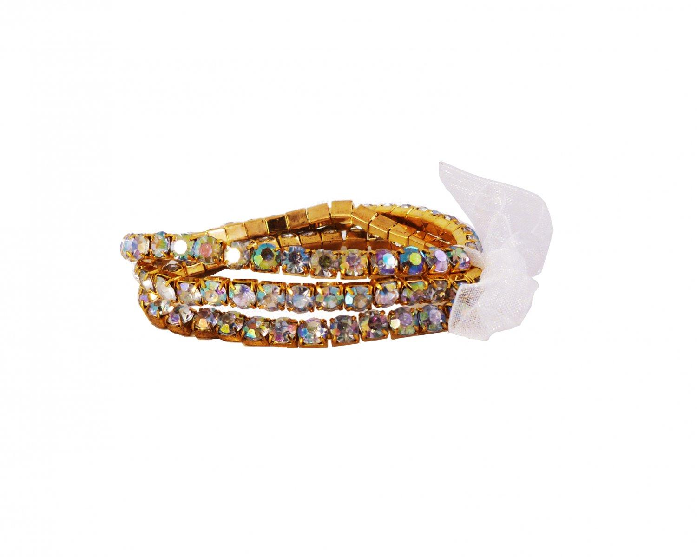 White Crystal Stretch Yellow Gold Plated Rhinestone Bracelets