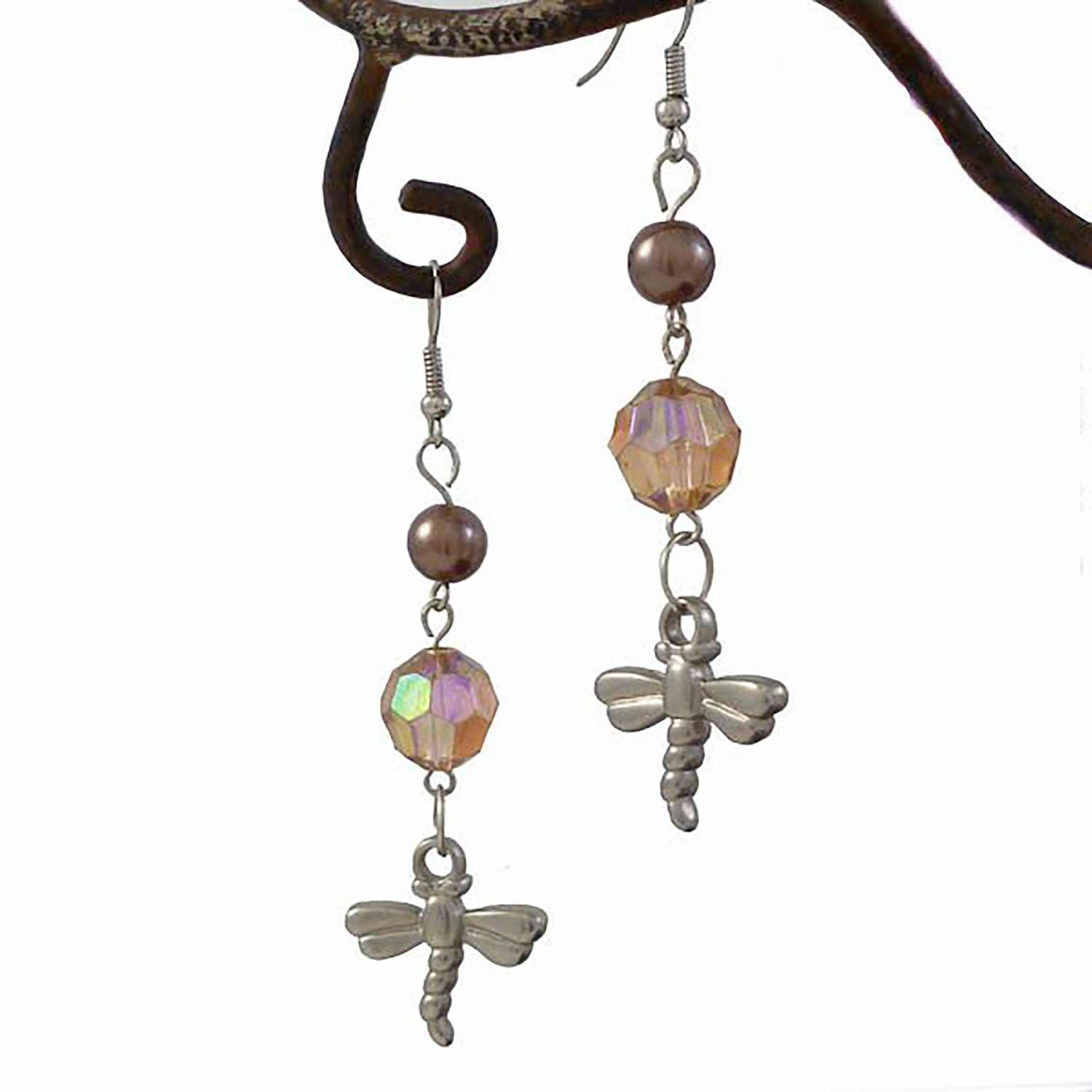 Good Luck Brown Dragonfly Dangle Earrings
