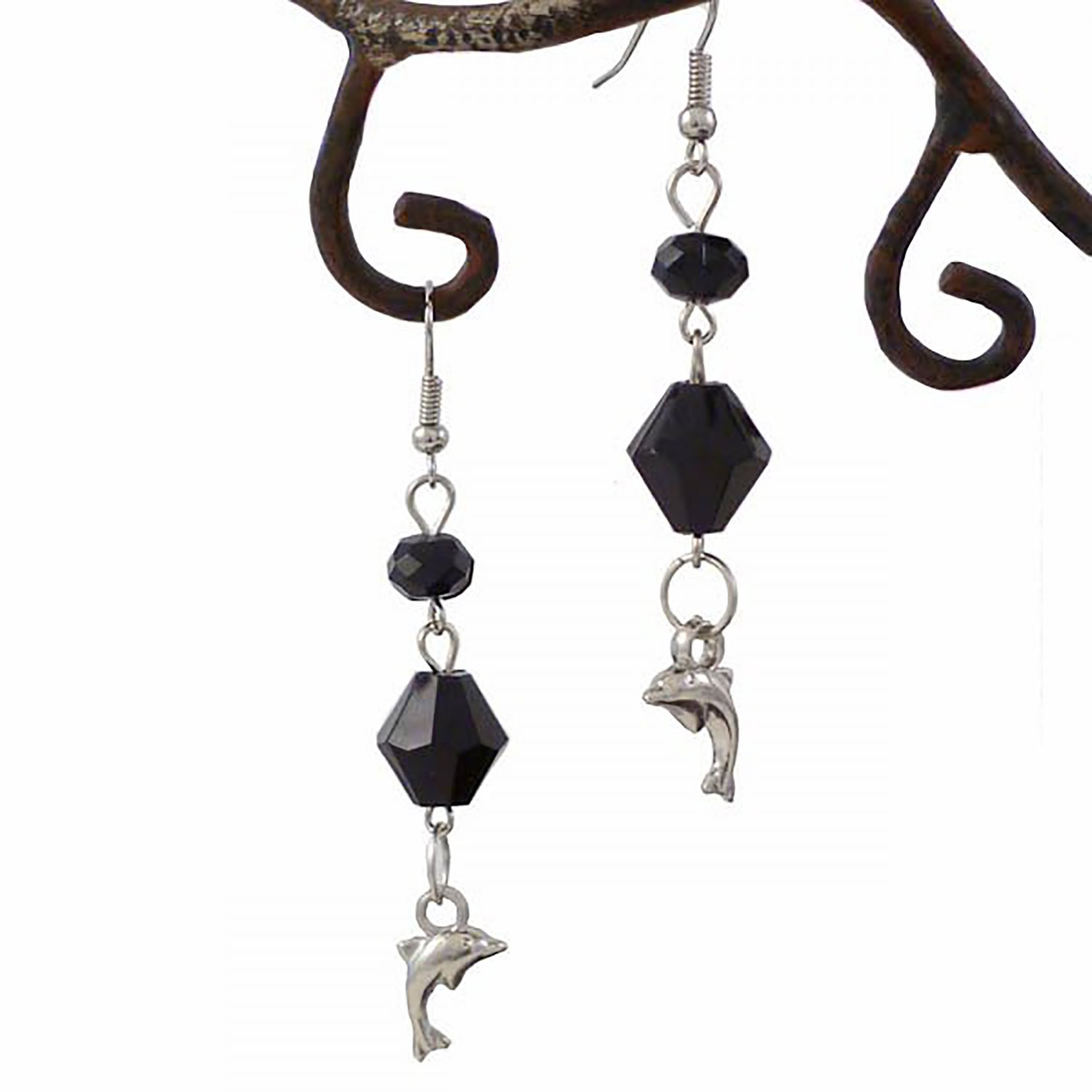 Black Crystal and Sliver Dolphin Dangle Earrings
