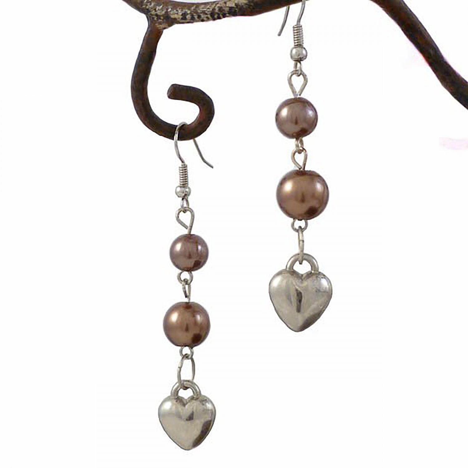 Rich Dark Chocolate Pearl  & Heart Dangle Earrings