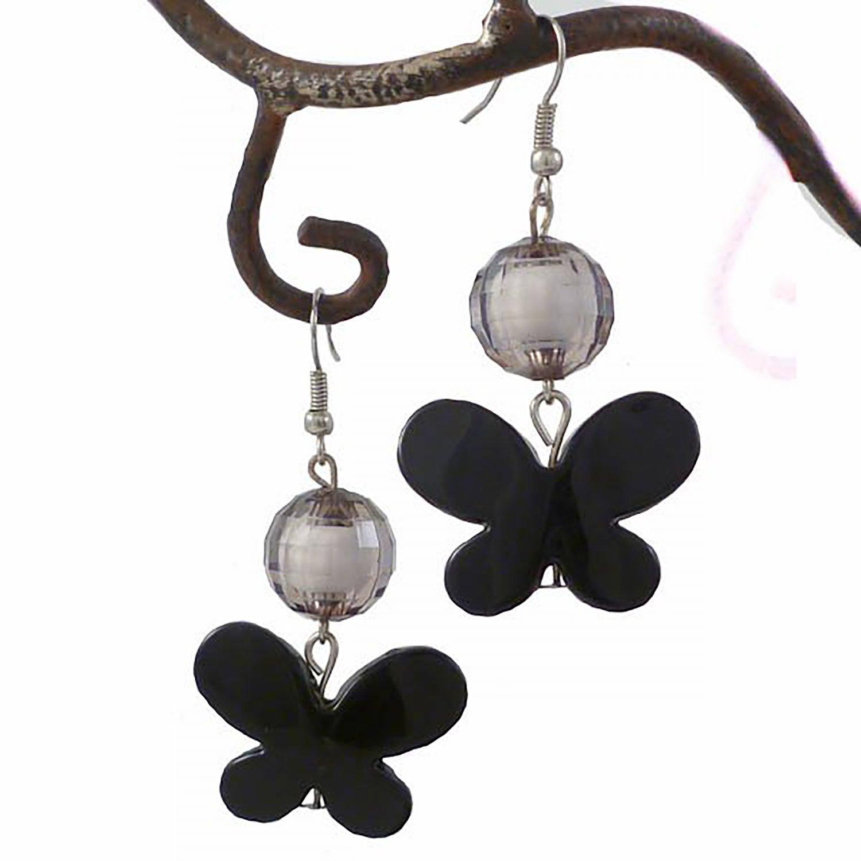 Black Butterfly & Crystal Bead Earring