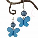 Turquoise Blue Butterfly & Crystal Bead Dangle Earring