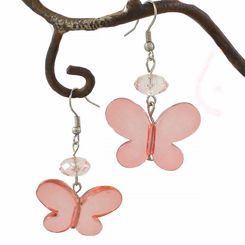 Pink Butterfly & Crystal Bead Dangle Earring