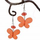 Red Butterfly & Crystal Bead Dangle Earring