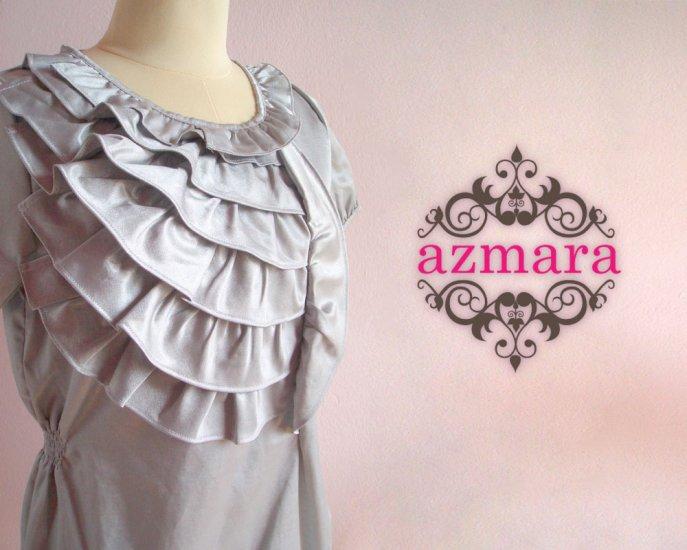 Elegant Silver Dress Ruffles Bust