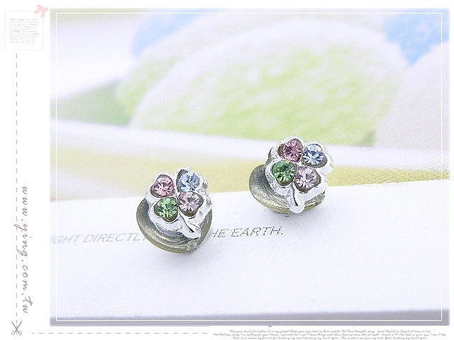 Tiny Four Clover Leaf Magnetic Earrings Free Shipment
