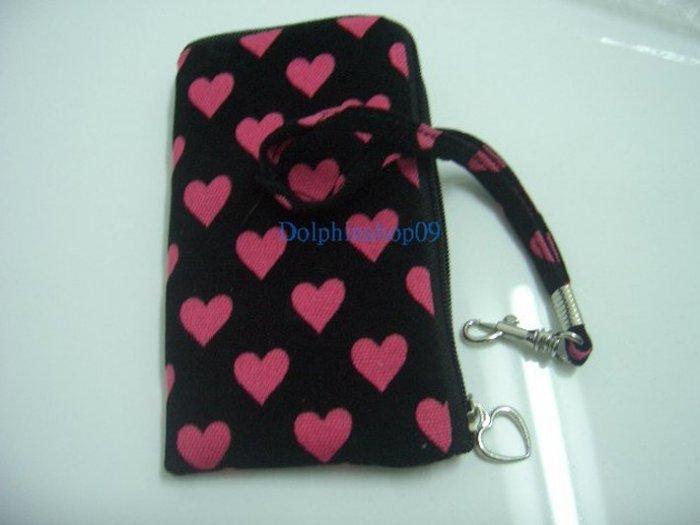 Black Peach Heart Shape Cell Phone w/ Strap