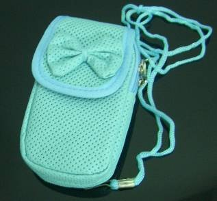 Light Blue Ribbon Cell Phone Bag Purse Case w/ Strap