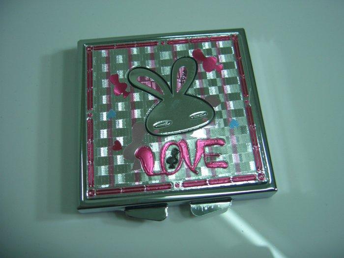 Square Sliver  Pink Love Rabbit Mirror Case