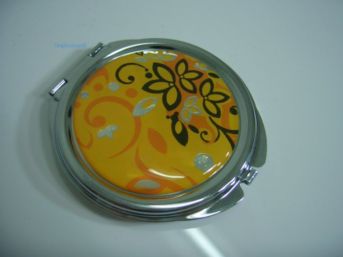Rould Yellow Flower Make Up Cosmetic Mirror Case
