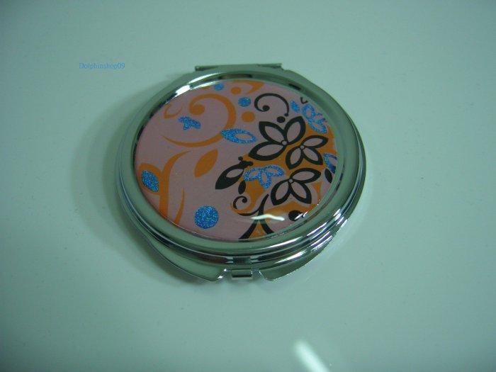 Round Pink Flower Make Up Cosmetic Mirror Case